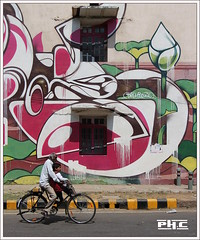 Urban water lily - Delhi (Philippe Cottier (PH.C)) Tags: inde india delhi newdelhi streetart urabn people bike mur wall nénuphar waterlily fresque bâtiment rue street art
