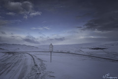 There may be trouble ahead (Gavmonster) Tags: gswphotogrpahy nikon d7500 iceland mountain road snow ice snowstorm storm sky clouds white blue danger sign roadsign