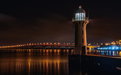 Lighthouse (hackdragon) Tags: lighthouse singapore local sg low light long exposure trails orange red blue sky water sea reflection amazing wallpaper sony a7r ii 2470mm gm highway bridge crossing guide