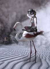 Flamingo Rider (Cat Girl 007) Tags: flamingo surreal pink art landscape composite sky bird animal fantasy extreme surrealism standing sitting photomanipulation dream fairytale magical person punk woman steampunk dreadlocks costume carnival circus freakshow fantasie