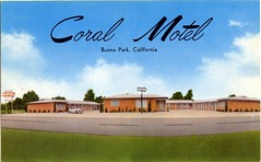 Coral Motel, Buena Park, California (SwellMap) Tags: postcard vintage retro pc chrome 50s 60s sixties fifties roadside mid century populuxe atomic age nostalgia americana advertising cold war suburbia consumer baby boomer kitsch space design style googie architecture