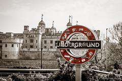 Tube sign next to the Tower of London (haris.krikelis) Tags: london londonstreets londonlife tube uunderground toweroflondon