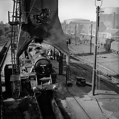 44680 (f22photographie) Tags: steamlocomotive britishrailways railwaysinthe1960s black5 blackfive 44680 birkenheadmollingtonstreetmpd 8h railwayshed railwaymotivepowerdepot blackandwhite monochrome railwaycoalingtower
