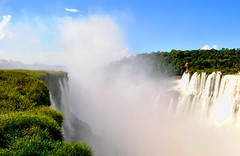 Iguazu Falls (makingacross) Tags: nikon d3000 iguazu falls iguacu argentina waterfall water spray sky blue clouds