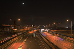 Motorway at Night (McGaggs) Tags: night motorway drive cars ireland dublin sandyford long exposure canon canon1000d moon road mood lights city m50 bridge eos 1000d rebelxs