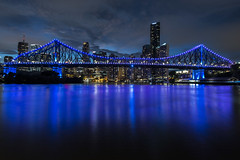 brisbane blue (Greg Rohan) Tags: storybridge building buildings nightphotography d750 2018 nikkor nikon australia brisbane qld queensland sky dusk sunset river water city bridge skyline skyscraper skyscrapers blue clouds lights night