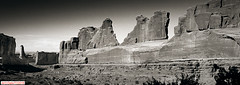 Park Avenue, Arches NP (DelioTO) Tags: 6x17 blackwhite curved desert f317 fall holiday landscape natparks panoramic pinhole rpx100 trails trip usa