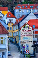 Streets of Bergen, Norway (Paulius Bruzdeilynas) Tags: bergen norway norge norwegian city street houses oldtown mountain weather spring sony sonyalpha sonya7ii
