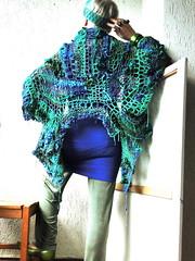 Furious waters (MizzieMorawez) Tags: fabricknitting freeform crochet fusion multiversatile coat displayedinmanyfashions upsidedown insideout mmmobileyoyoclosure avantgarde visionaryvanguard lagenlook green blue furiouswaters extreme knitart fiberart ooak designerstück unikat strickmantel elegant