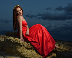 Alicia in the Ojito (Mitch Tillison Photography) Tags: beautiful stunning gorgeous woman female model fashion lovely pose seated outdoors ojito wilderness redhead ginger red gown dress dusk goldenhour strobe godox mitchtillison photo photography nikon d750 flickrsbest