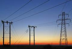 Sunrise (babell4321) Tags: sunrise portsdownhill beverleybell canonpowershotg16 silhouette sky recent wires pylon cables telegraphpole morning 2015 skyline