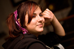 Katie (Jeremy Caney) Tags: bangs bow brownhair dramaticlighting eyelashes friends gimpyk halloween houseparties katiegimp katieseckel longhair makeup parties pink redhair ribbon smile smirk sparkles sparkly witchinghour witchinghourparty woman women