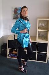 Turquoise (Rikky_Satin) Tags: silk satin blouse leggings shiny highheels sandals handbag crossdresser transvestite transgender tgirl tgurl gurl sissy femboi