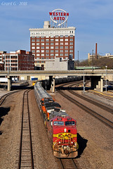"Westbound Grain Train in Kansas City, MO (""Righteous"" Grant G.) Tags: bnsf railway railroad locomotive train trains west westbound grain atsf santa fe warbonnet ge power kct kansas city missouri"