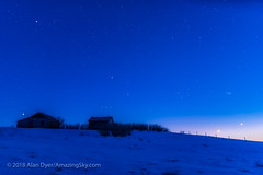 Moon, Venus and Stars in the Blue Twilight (Amazing Sky Photography) Tags: 2018 alberta aldebaran april17 astronomytools bluehour conjunction constellation earthshine luminar orion orton pleiades sirius spring twilight venus waxingmoon evening oldfarm rustic setting winter