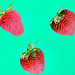 Macro of yummy strawberries on green background