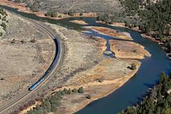 Along a meandering Colorado (Moffat Road) Tags: amtrak river water passengertrain californiazephyr curve arc 5 yamony upmoffattunnelsub formerriogrande coloradoriver train railroad colorado co