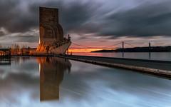 From Belém to the world (marcolemos71) Tags: landscape water tagusriver reflection bridge sky dusk padrãodosdescobrimentos belém longexposure leefilters marcolemos
