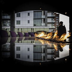 Catalyst with CR (Mabry Campbell) Tags: 2018 april catalyst chrisroberts houston mabrycampbell texas usa apartment architecture building commercial design downtown exterior fire flame image man person photo pool pooldeck reflection residential