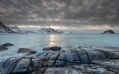 Dark sky (Mika Laitinen) Tags: canon5dmarkiv europe hauklandbeach lofoten norway norwegiansea scandinavia cliff cloud cold landscape longexposure mountain nature ocean outdoors rock sea seascape shore sky snow sunset water winter nordland no