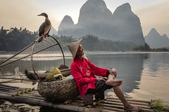 Relaxation at dusk (lc99photography) Tags: cormorant cormorantfishing cormorantfisherman guilin guangxi yuanshuo china travel river lijiang liriver red oldman fisherman karst karstformation raft bambooraft reflections mountains landscape people wildlife birds