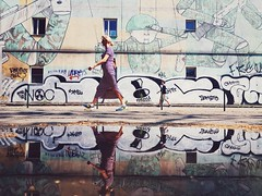 Perspective Mr. Smalls, perspective (ewitsoe) Tags: samsung mobile refelction littleman street erikwitsoe ewitsoe warsaw warszawa city urban woman lady walking sunlight summerfeels vibe atmosphere vsco samsungs8 reflection puddle