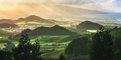 Azores - Fields of Green (030mm-photography) Tags: rot azoren azores portugal saomiguel insel archipel landschaft hügel vulkan vulkankegel krater natur landscape nature abendlicht sonnenuntergang dusk sunset reise travel