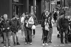 20180501_F0001: People waiting for the green man (wfxue) Tags: people street road crossing talking mobil phone waiting candid portrait blackandwhite bw bnw monochrome