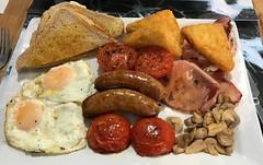 Saturday Breakfast (AndrewHA's) Tags: breakfast food eggs bacon sausage hash brown mushrooms toast tomatoes
