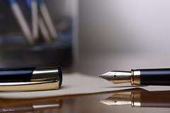 Calligraphy Nib (Tyson J) Tags: select tyson nikon d7100 60mm flash grid pen writing paper desk glass notes elegance oldfashioned wood reflection calligraphy nib fountainpen black gold