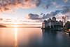 Château de Chillon (noberson) Tags: chateau de chillon schloss sunset sonnenuntergang longexposure longexpo switzerland lake water reflection warm spring castle swiss geneve geneva lac leman nikon d750 architecture