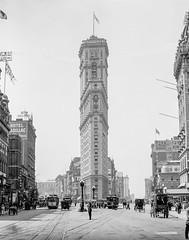 Times Square And The New York Times Tower Building, 1908-06 (kocojim) Tags: newyorkcity newyork unitedstates us photo timesbuilding kocojim detroitpublishingco streetscene libraryofcongress broadway loc streetcar timessquare policeman ny