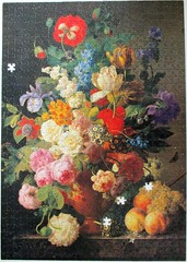 Bowl of Flowers (pefkosmad) Tags: clementoni jigsaw puzzle used secondhand incomplete hobby leisure pastime 1000pieces 999pieces museumcollection louvre art painting fineart bowlofflowersgrapesandpeaches jansfranvandael