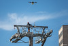 Dron volando sobre torre al lado del Mercado Camacho, a la entrada del Campo Ferial y entrega del último cable... (Max Glaser) Tags: cablecar teleferico dron bolivia lapaz southamerica gondola ropeway urbantransport transportation