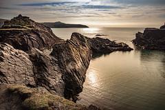 Abereiddi's Blue Lagoon (chrisgj6) Tags: water wales reflection coastline rocks sunset pembrokeshirecoastnationalpark slate nationalpark quarry clifftop abereiddi'sbluelagoon sea coast pembrokeshire cymru