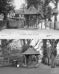 PERIVALE CHURCH LYCHGATE POSTCARD MONTAGE 1 (Nigel Bewley) Tags: stmarys stmarythevirgin church coe placeofworship history heritage gothic victorian perivale ealing london uk londonist unlimitedphotos march march2018 nigelbewley photologo blackandwhite blackwhite appicoftheweek lychgate 1904 postcard thenandnow beforeandafter street lostlondon