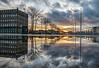 The Mirror Dimension (Chris Hopkins Images) Tags: glasgow scotland water city cityscape sky sunset lookup wideangle reflection reflecting puddle