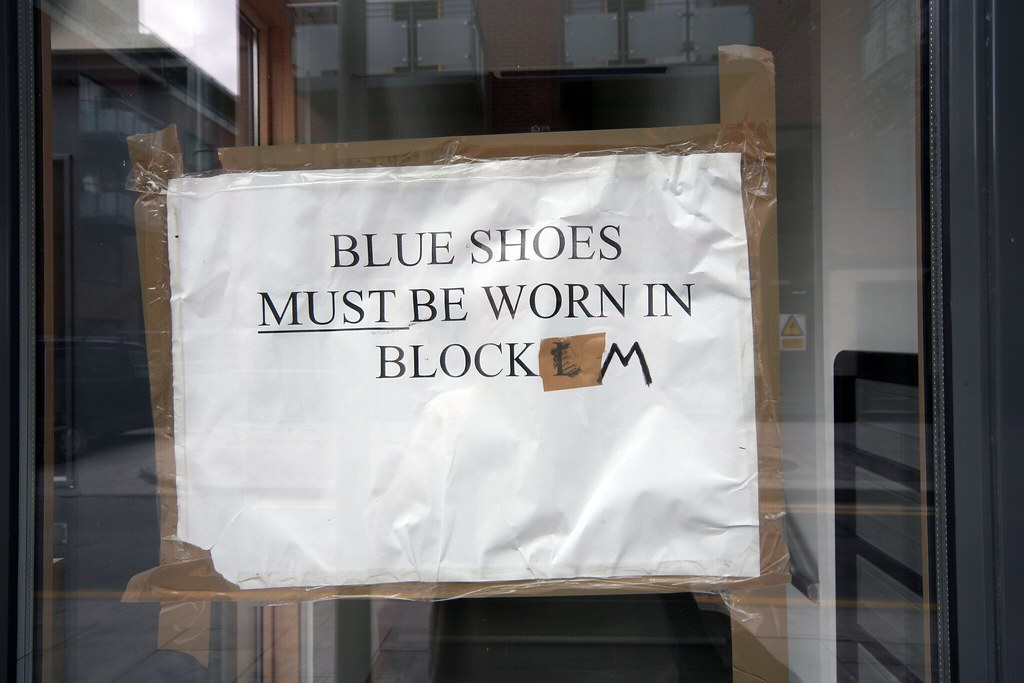BLUE SHOES MUST BE WORN IN BLOCK M