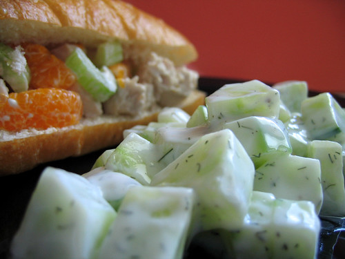 Cucumber Dill Salad and Chicken Salad Sammich