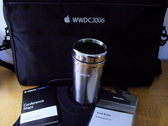 Swag (scottboms) Tags: sanfrancisco california apple computer pass mug conferences hotelroom wwdc2006