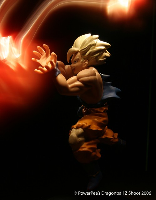 Super Saiyan Goku with his famous Kamehameha move.
