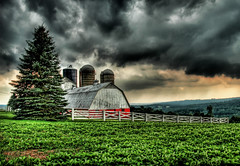 The Barn in the Storm (Stuck in Customs) Tags: storm field rain clouds barn nikon pennsylvania d2x silo silos crops hdr lucisart d2xs stuckincustoms imagekind treyratcliff stuckincustomsgooglescreensaver