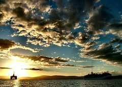 The end of summer (ccgd) Tags: sunset scotland highlands ship vessel cruiseship cromarty oilrig sutor