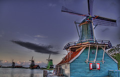 The Windmills of Holland at Dusk (Stuck in Customs) Tags: holland netherlands windmill night hdr