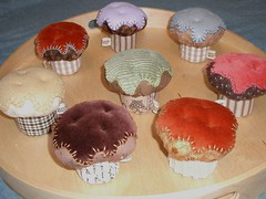 "cupcake pincushions 3"" (PatchworkPottery) Tags: handmade sewing crafts country felt velvet fabric cupcake pincushion cordouroy"