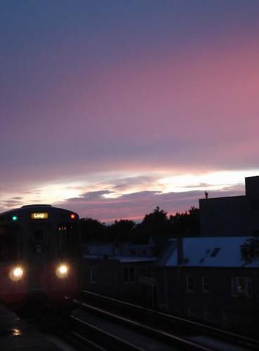 CTA sunset with train