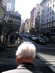 (Charm.Quark) Tags: sanfrancisco california old city light people white man streets hair head shining