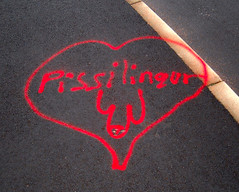 Pissilingur (Jan Egil Kristiansen) Tags: love penis graffiti heart churchstreet semiotics  gluteusmaximus assignment4 redonblack hoyvk faroese kirkjustrti dscf3249 iconicsymbol sharedurbanspace