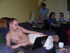 Cooling off (peripathetic) Tags: shirtless london computer geotagged laptop 2006 ilford owenblacker jennyblower london2006 gwilymtatam geolat51559397 geolon0070167