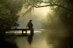 early morning river (Alida's Photos) Tags: statepark morning silhouette misty sunrise river early fishing nikon alone quality longislandny flyfishing d200 walkinginnature connetquotriver connetquot nikond200 utatafeature nikonstunninggallery naturepoetry alidasphotosu